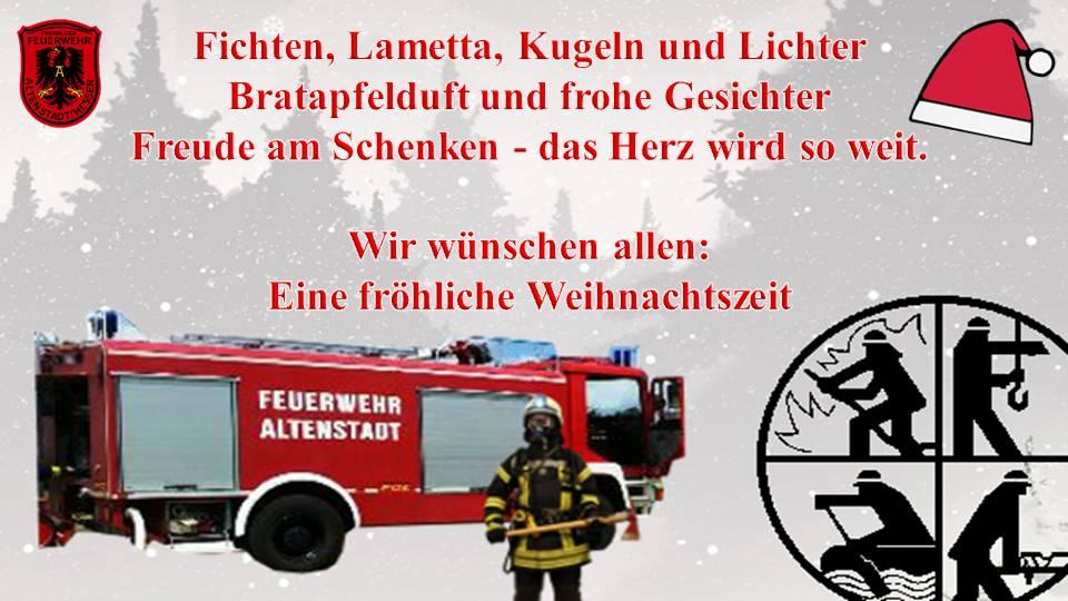 frohe weihnachten freiwillige feuerwehr altenstadt